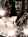 Christmas and new year background with sparklers, serpentine, bottle and glasses with champagne and watch.