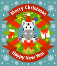 Christmas and new year background with zebra card Stock Photography