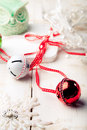 Christmas, New Year balls with ribbon, decorative snowflakes and owl . Royalty Free Stock Photo