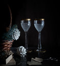 Christmas, new year. basket with fir branches and vintage champagne glasses. Royalty Free Stock Photo