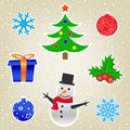 Christmas and new year card collection the cartoon on the light snow background Royalty Free Stock Photo