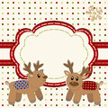 Christmas and New Year Card with deers Stock Image