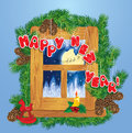 Christmas and new year card with flying reindeers on sky background in wooden frosty window fir tree branches candle horse toy Royalty Free Stock Photo