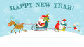 Christmas and new year card greeting with santa claus on sledge snowman deer rabbit Stock Images