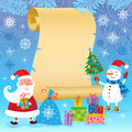 Christmas and new year card greeting with santa claus snowman gifts Stock Images