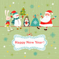Christmas and new year card greeting with santa claus snowman penguin rabbit Royalty Free Stock Photography