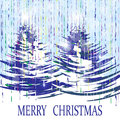 Christmas, New Year card. The stylized image of trees on a winter day illustration Royalty Free Stock Photo