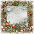 Christmas and new year card with tree snowflakes toys space for text Royalty Free Stock Photo