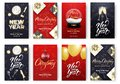 Christmas and New Year cards. Merry Xmas holiday poster design layout templates