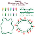 Christmas and New Year collection of garlands items of colorful bulbs for holidays design. Glowing multicolored lightbulbs and fra