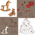 Christmas and new year collection set of toys illustration Royalty Free Stock Image