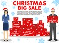 Christmas and New Year big sale. Detailed illustration of businesswoman and businessman hold the box in hands standing