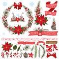 Christmas,New Year decor.Poinsettia,spruce