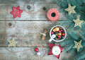 Christmas (New Year) decoration background with a copy space: a Royalty Free Stock Photo