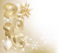 Christmas or new year decorations gold background with snowflakes and baubles reading Royalty Free Stock Photo