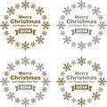 Christmas and new year decorations a set of merry happy with gold silver color Royalty Free Stock Photo