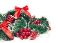 Christmas and new year decorations on a white background tinsel Stock Image