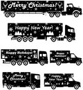 Christmas and New Year delivery. Set of different silhouettes of delivery trucks on white background. Vector illustration.