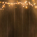Christmas New Year design: wooden background with christmas lights garland. Vector illustration, eps10.