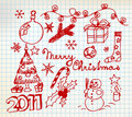 Christmas and New Year doodle illustrations Royalty Free Stock Photo