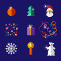 Christmas and new year flat design icon set vector illustration Stock Photography