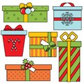 Christmas and new Year gift boxes. Winter seasonal presents set. Colorful vector icons Royalty Free Stock Photo