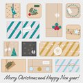 Christmas and new Year gift boxes. Winter seasonal presents set. vector line icons Royalty Free Stock Photo