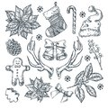 Christmas and New Year gift decoration. Vector sketch hand drawn illustration. Winter holiday design and decor elements