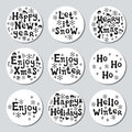Christmas New Year gift round stickers. Labels xmas set. Hand drawn decorative element. Collection of holiday christmas