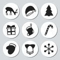Christmas and New Year gift round stickers. Labels xmas set. Hand drawn decorative element. Collection of holiday