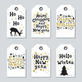 Christmas and New Year gift tags. Cards xmas gold set. Hand drawn element. Collection of holiday paper label in black