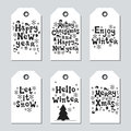 Christmas and New Year gift tags. Cards xmas set. Hand drawn elements. Collection of holiday paper label in black and