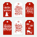 Christmas and New Year gift tags. Cards xmas set. Hand drawn elements. Collection of holiday paper label in red and
