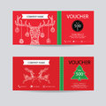 Christmas and new year gift voucher certificate coupon template. Decorate with detailed hand drawn Christmas deer zentangle style Royalty Free Stock Photo