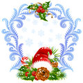 Christmas and New Year greeting card 4. Santa hat, Stock Images