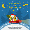 Christmas and New Year greeting card with delivery van. Vector. Royalty Free Stock Photo