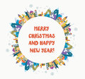 Christmas and new year greeting card with nice town and frame illustration Royalty Free Stock Photo