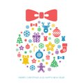 Christmas and new year greeting card template with a selection of coloruful seasonal silhouette icons arranged in the shape of a Stock Photos