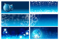 Christmas and new year greeting card templates template set in blue copyspace for your text Stock Images