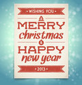 Christmas and new year greeting card with typograp vector typography Stock Photos