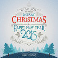Christmas and new year greeting card with typography on the winter forest background Royalty Free Stock Images