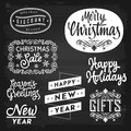 Christmas and new year greetings and badges on chalkboard eps vector with transparency Royalty Free Stock Photo