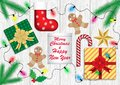 Christmas and new year greetings, vector illustration Royalty Free Stock Photo