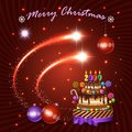Christmas and New Year holiday vector banner. Shining flash elements, cake and decorations for typography design