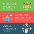 Christmas New Year holidays flat style web icon banner concept