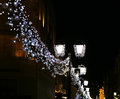 Christmas and new year holidays illumination moscow at night in russia Stock Photos