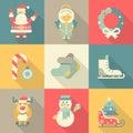 Christmas New Year icon set flat style cartoon funny Santa angel Royalty Free Stock Photo