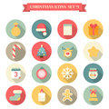 Title: Christmas New Year icon set flat style objects Santa hat elk etc