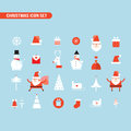 Christmas and New Year icon set Holiday Santa Claus Snowman