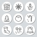 Christmas New Year icons gift round stickers. Labels xmas set. Hand drawn decorative element. Collection of holiday